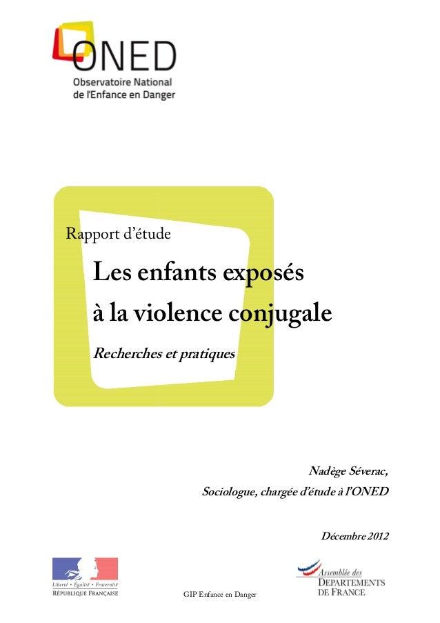 Rapport d'étude   Les enfants exposés   à la violence conjugale   Recherches et pratiques                                 ...