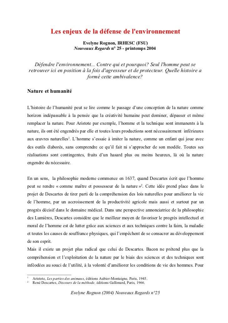 Les enjeux de la défense de lenvironnement                                  Evelyne Rognon, IRHESC (FSU)                  ...