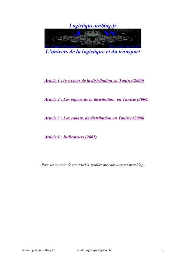 Logistique.unblog.fr  L'univers de la logistique et du transport  Article 1 : le secteur de la distribution en Tunisie(200...