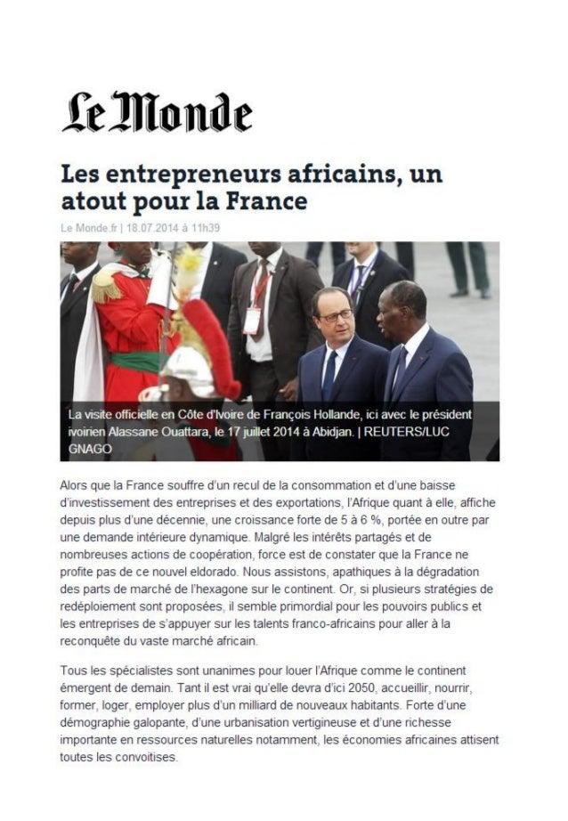 Les entrepreneurs africains un atout pour la france le monde