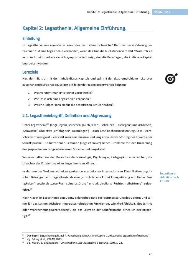 26  Kapitel 2: Legasthenie. Allgemeine Einführung. Modul B2-L  Kapitel 2: Legasthenie. Allgemeine Einführung.  Einleitung ...