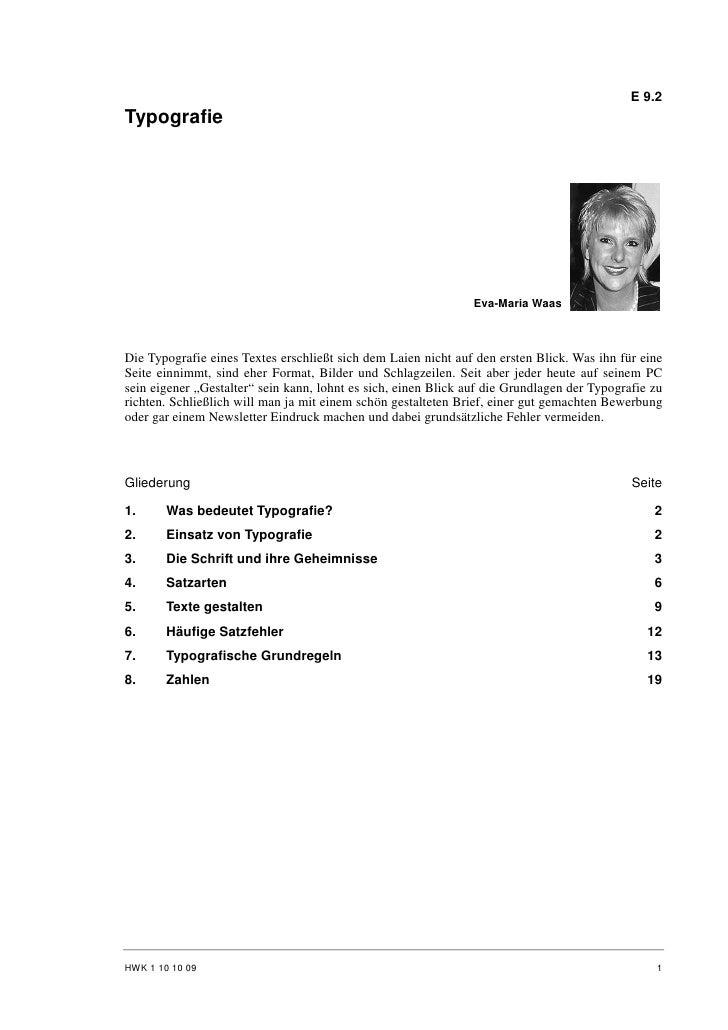 E 9.2 Typografie                                                                     Eva-Maria Waas    Die Typografie eine...