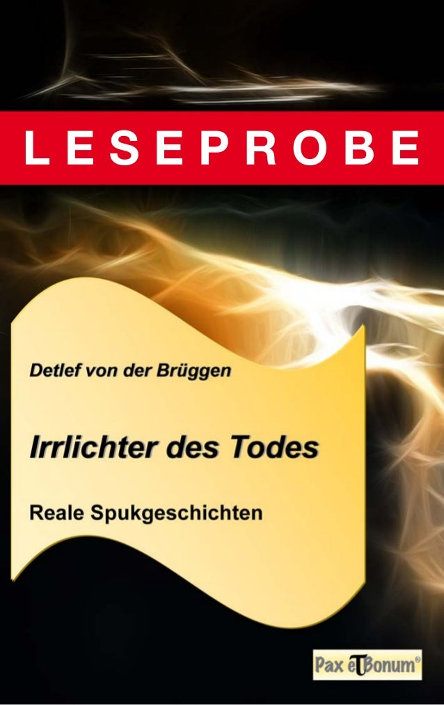 """Leseprobe Buch: """"Irrlichter des Todes"""" bei Pax et Bonum Verlag Berlin"""