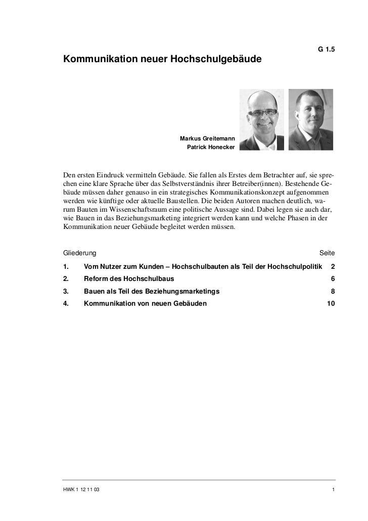 G 1.5Kommunikation neuer Hochschulgebäude                                       Markus Greitemann                         ...