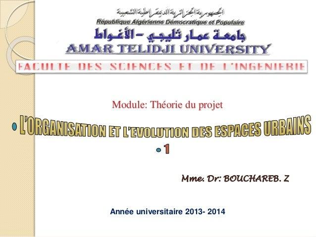 Module: Théorie du projet Mme. Dr: BOUCHAREB. Z Année universitaire 2013- 2014