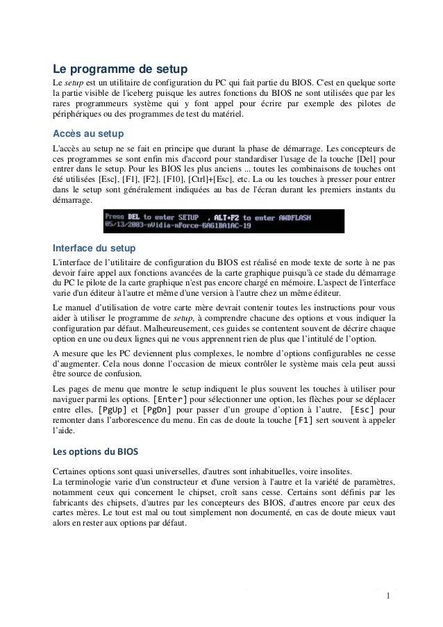 Luc De Mey www.courstechinfo.be/Hard/Setup.pdf 1 Le programme de setup Le setup est un utilitaire de configuration du PC q...