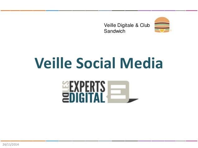 Veille Social Media  26/11/2014  Veille Digitale & Club  Sandwich