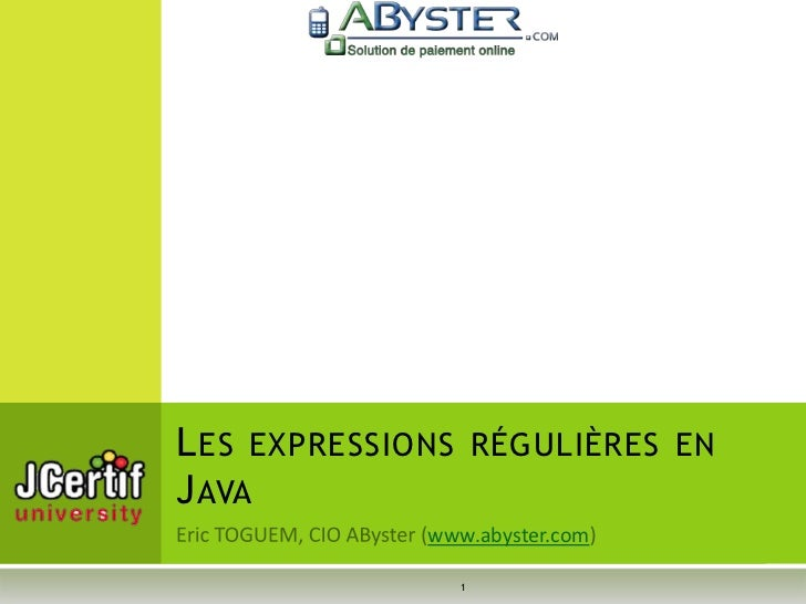L ES EXPRESSIONS RÉGULIÈRES ENJ AVA              www.abyster.com                 1