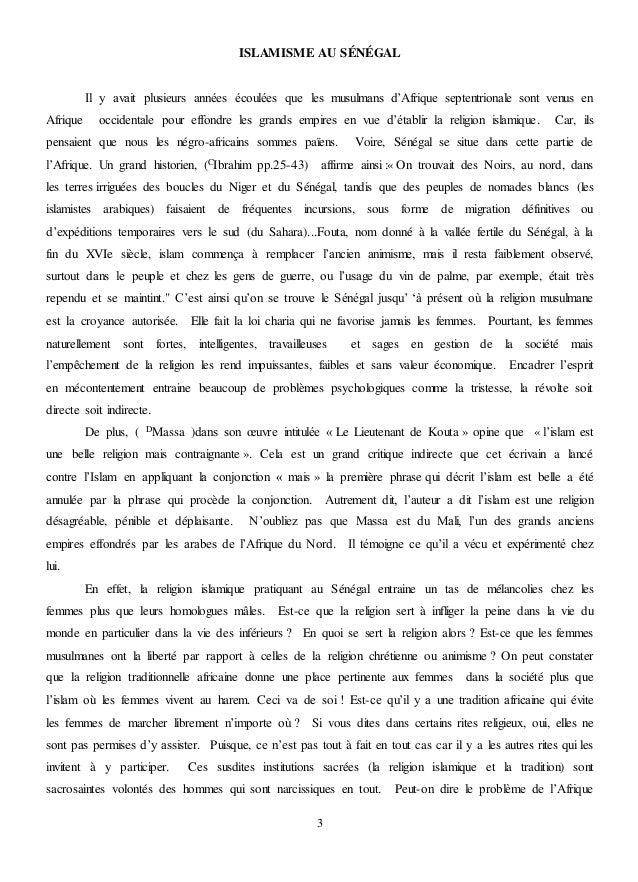 une si longue lettre pdf L'ISLAMISME ET LA RELIGION TRADITIONNELLE : EMBARGOS SUR LES FEMMES A… une si longue lettre pdf