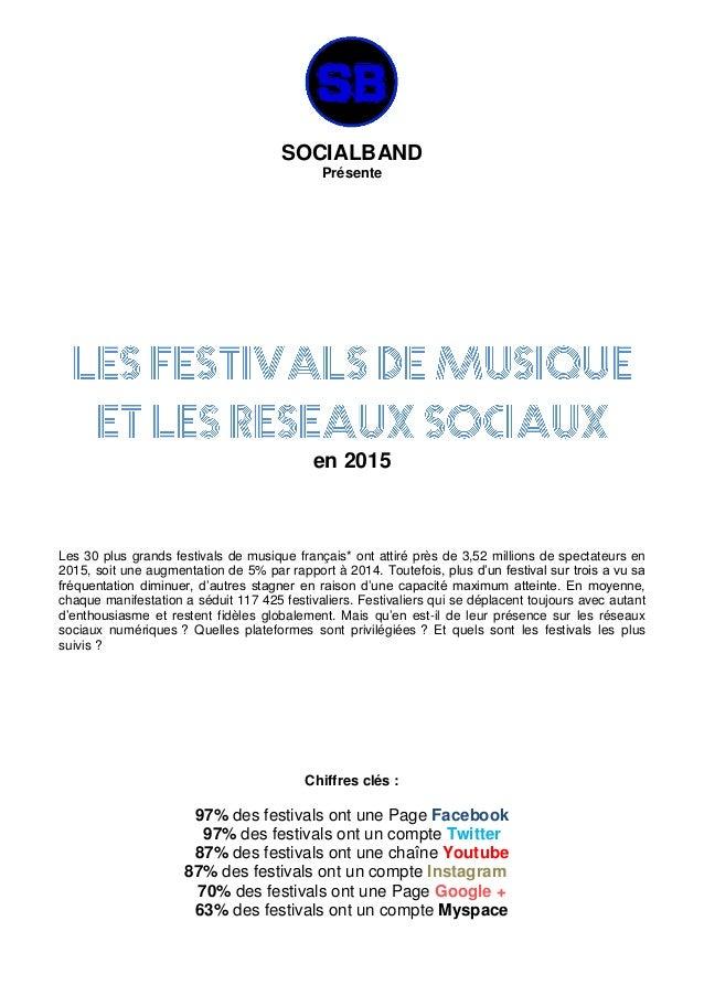 SOCIALBAND Présente en 2015 Les 30 plus grands festivals de musique français* ont attiré près de 3,52 millions de spectate...