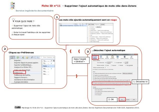 Fiche ID n°11 – Supprimer l'ajout automatique de mots clés dans Zotero Service ingénierie documentaire MacGregor B. Fiche ...