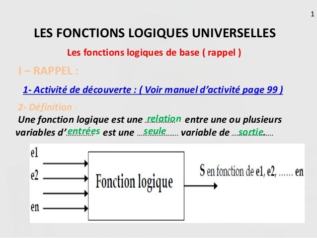les fonctions logiques universelles rappel flb 2 sc