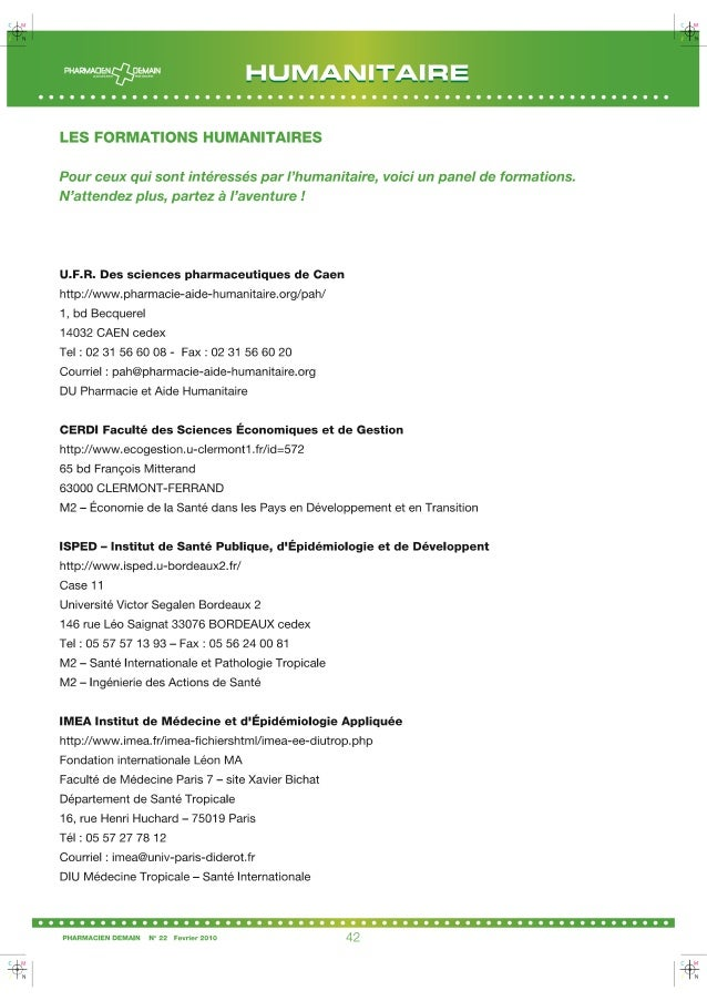 Les formations humanitaires