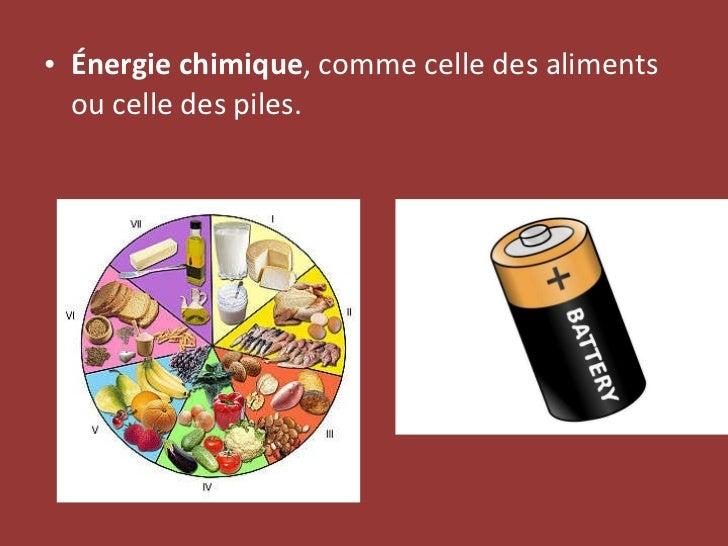 <ul><li>Énergie chimique , comme celle des aliments ou celle des piles. </li></ul>