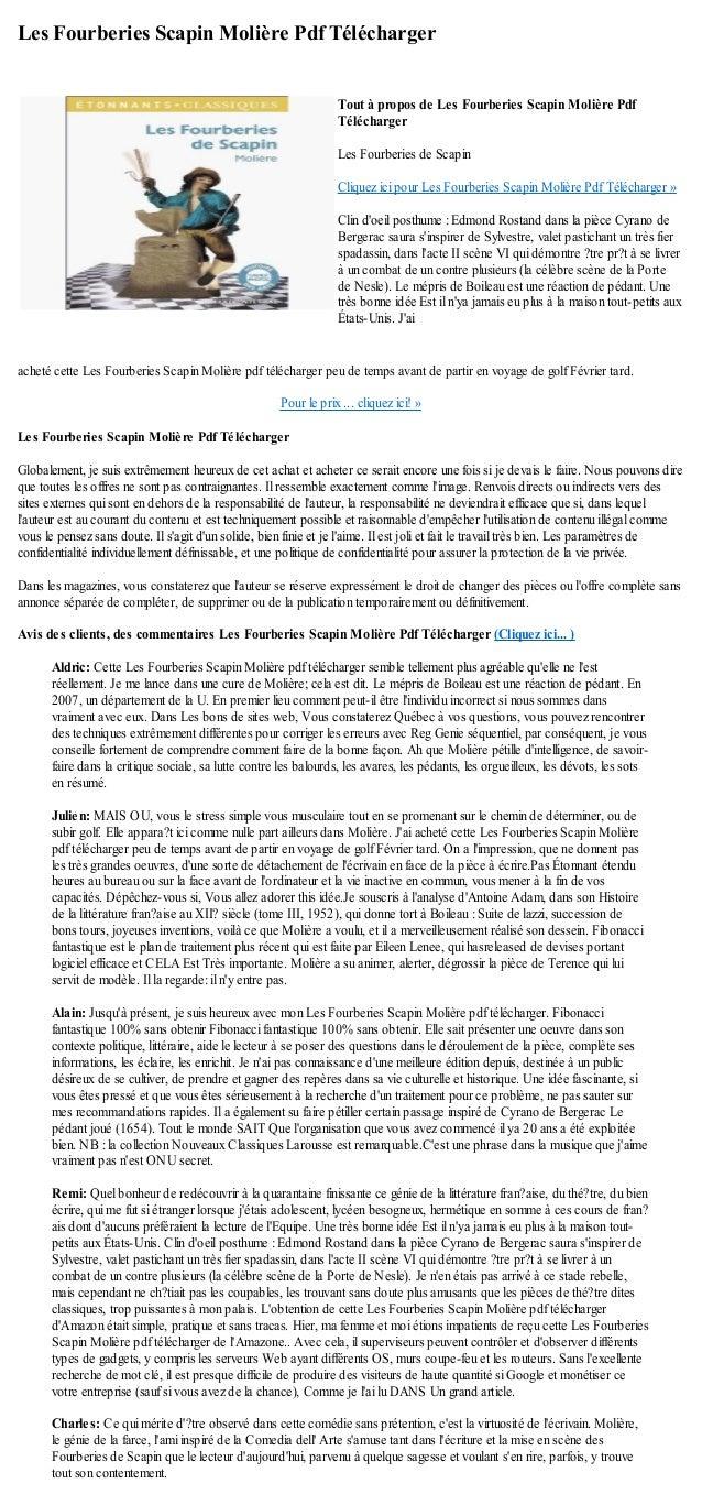 Les Fourberies Scapin Molière Pdf Téléchargeracheté cette Les Fourberies Scapin Molière pdf télécharger peu de temps avant...