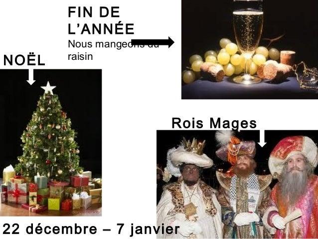 FIN DE        L'ANNÉE        Nous mangeons duNOËL    raisin                           Rois Mages22 décembre – 7 janvier