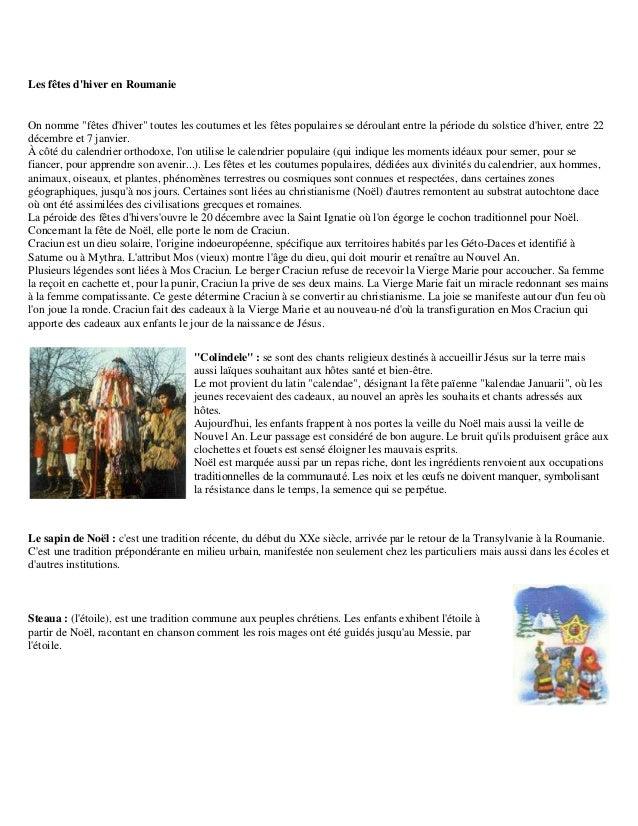 """Les fêtes dhiver en RoumanieOn nomme """"fêtes dhiver"""" toutes les coutumes et les fêtes populaires se déroulant entre la péri..."""