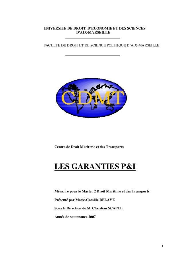 UNIVERSITE DE DROIT, D'ECONOMIE ET DES SCIENCES D'AIX-MARSEILLE FACULTE DE DROIT ET DE SCIENCE POLITIQUE D'AIX-MARSEILLE C...