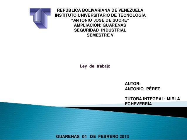 """REPÚBLICA BOLIVARIANA DE VENEZUELAINSTITUTO UNIVERSITARIO DE TECNOLOGÍA       """"ANTONIO JOSÉ DE SUCRE""""        AMPLIACIÓN: G..."""
