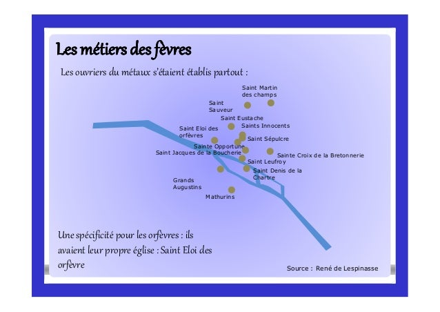 Lesmétiersdes fèvresLesmétiersdes fèvres Les ouvriers du métaux s'étaient établis partout : Source : René de Lespinasse Sa...
