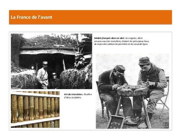 La  France  de  l'avant   Soldats  français  dans  un  abri.  Les  cagnas,  abris   creuses  sou...