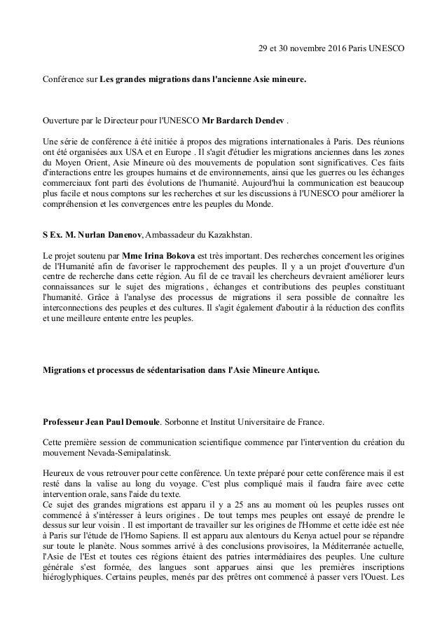 29 et 30 novembre 2016 Paris UNESCO Conférence sur Les grandes migrations dans l'ancienne Asie mineure. Ouverture par le D...