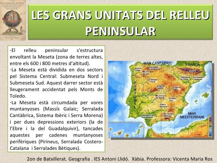 <ul><li>El relleu peninsular s'estructura envoltant la Meseta (zona de terres altes, entre els 600 i 800 metres d'altitud)...