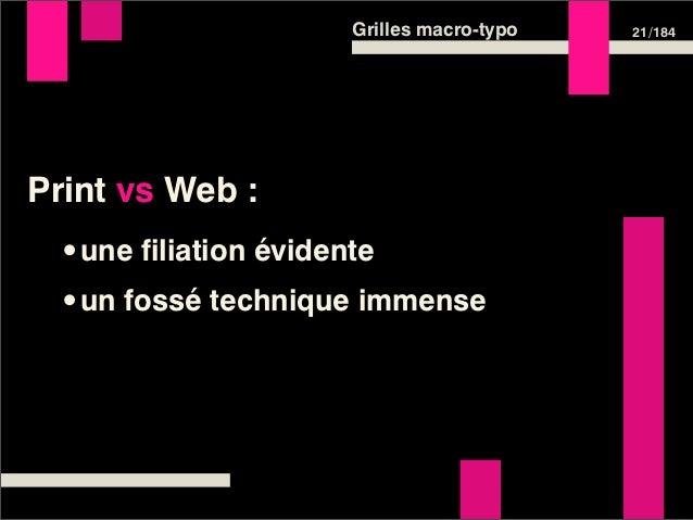 Grilles macro-typo   21 /184Print vs Web : •une filiation évidente •un fossé technique immense