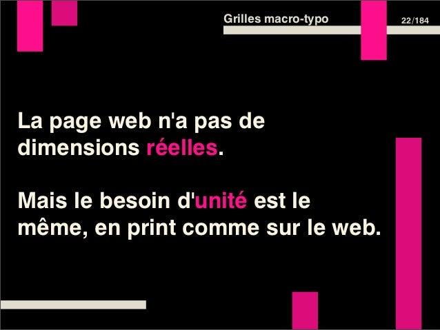 Grilles macro-typo   22 /184La page web na pas dedimensions réelles.Mais le besoin dunité est lemême, en print comme sur l...