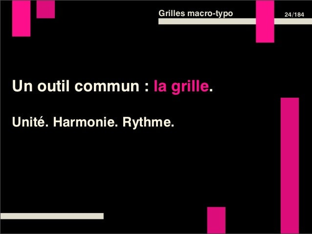 Grilles macro-typo   24 /184Un outil commun : la grille.Unité. Harmonie. Rythme.