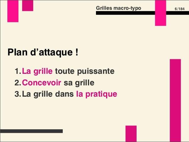 Grilles macro-typo   6 /184Plan d'attaque ! 1.La grille toute puissante 2.Concevoir sa grille 3.La grille dans la pratique