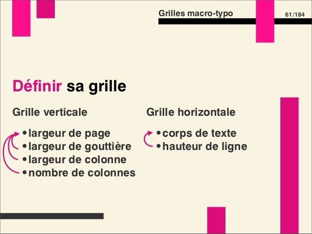 Grilles macro-typo   63 /184Définir sa grille  •S'aider de formules  •S'aider d'outils visuels