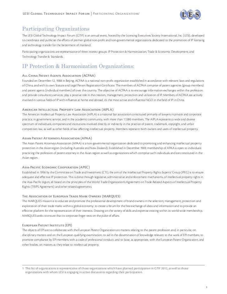 LESI Global Technology Impact Forum | Participating Organizations 1Participating OrganizationsThe LESI Global Technology I...