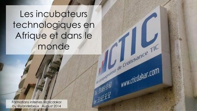 Les incubateurs technologiques en Afrique et dans le monde Formations internes @cticdakar by @yannlebeux August 2014