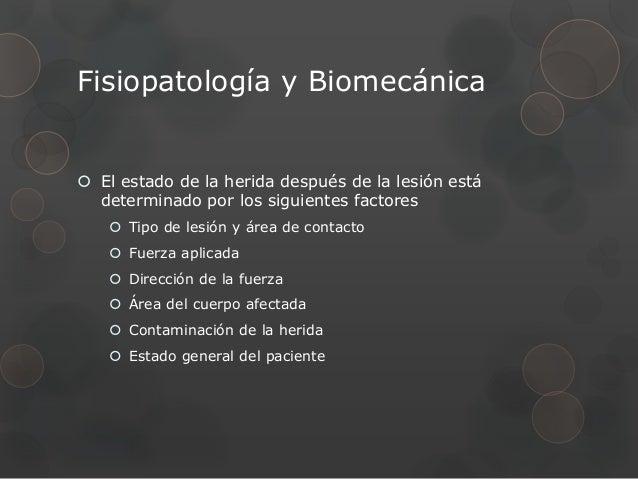 Fisiopatología y Biomecánica El estado de la herida después de la lesión está  determinado por los siguientes factores   ...