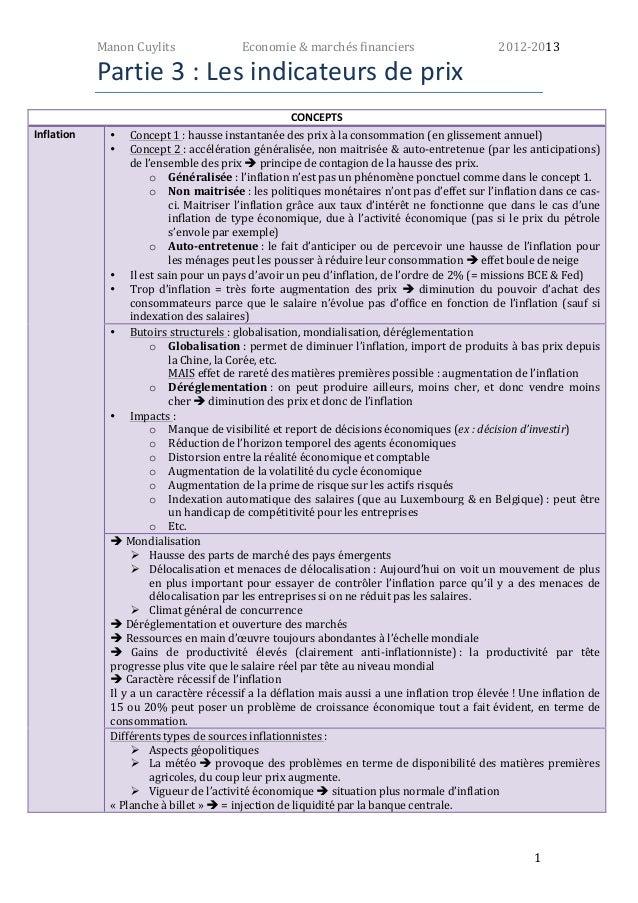 Manon  Cuylits  Economie  &  marchés  financiers  2012-‐2013  1  Partie  3  :  Les  indicateurs  de  prix  CONCEPTS  Infl...