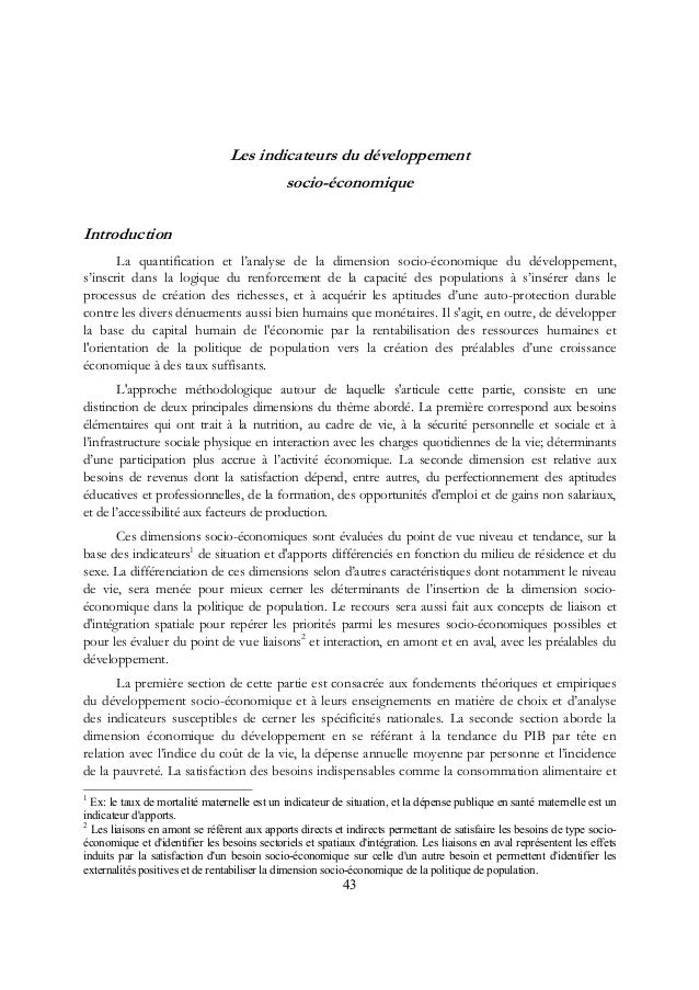 Les indicateurs du développement socio-économique Introduction La quantification et l'analyse de la dimension socio-économ...