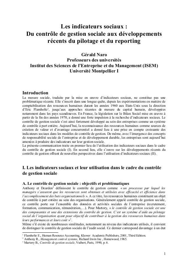 Les indicateurs sociaux : Du contrôle de gestion sociale aux développements récents du pilotage et du reporting Gérald Nar...