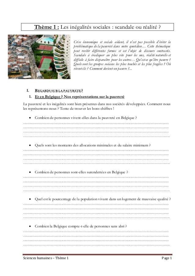 Sciences humaines – Thème 1 Page 1 Thème 1 : Les inégalités sociales : scandale ou réalité ? Crise économique et sociale a...