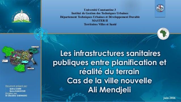 Les infrastructures sanitaires publiques entre planification et réalité du terrain Cas de la ville nouvelle Ali Mendjeli U...