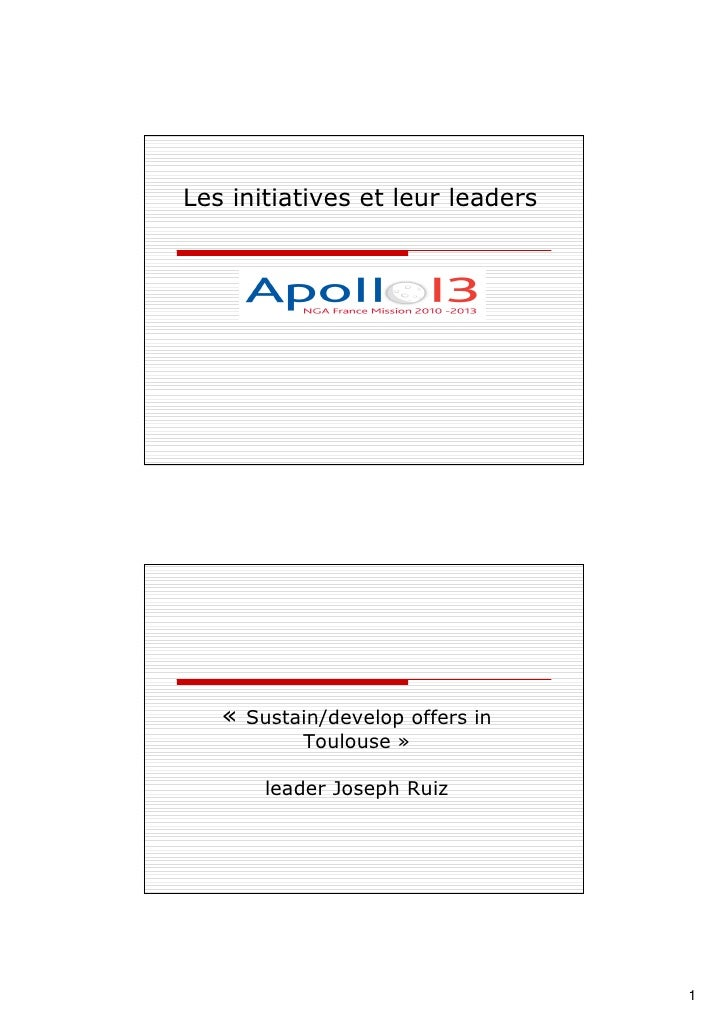 Les leaders et les initiatives Apollo 13