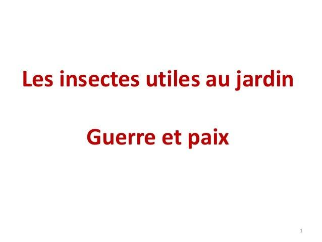 Les insectes utiles au jardin Guerre et paix  1