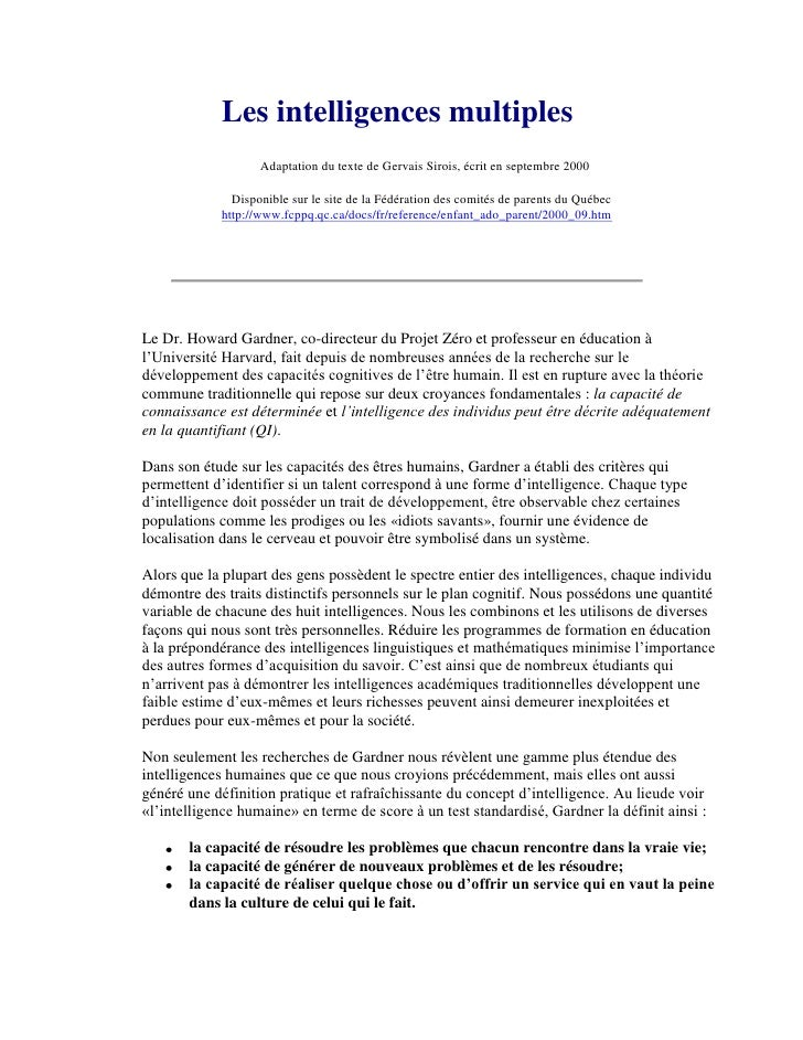 Les intelligences multiples                   Adaptation du texte de Gervais Sirois, écrit en septembre 2000              ...