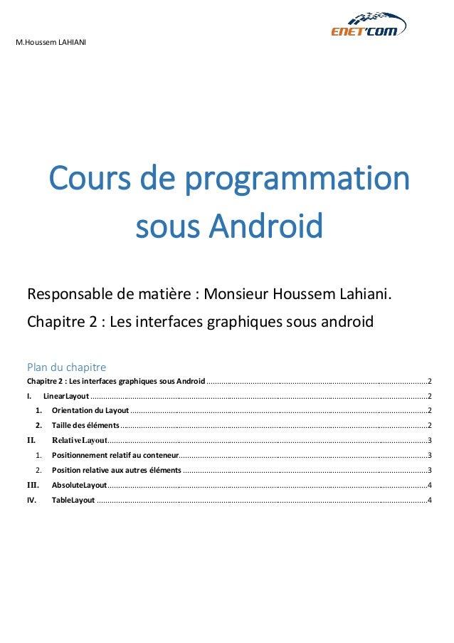 M.Houssem LAHIANI  Cours de programmation sous Android  Responsable de matière : Monsieur Houssem Lahiani.  Chapitre 2 : L...