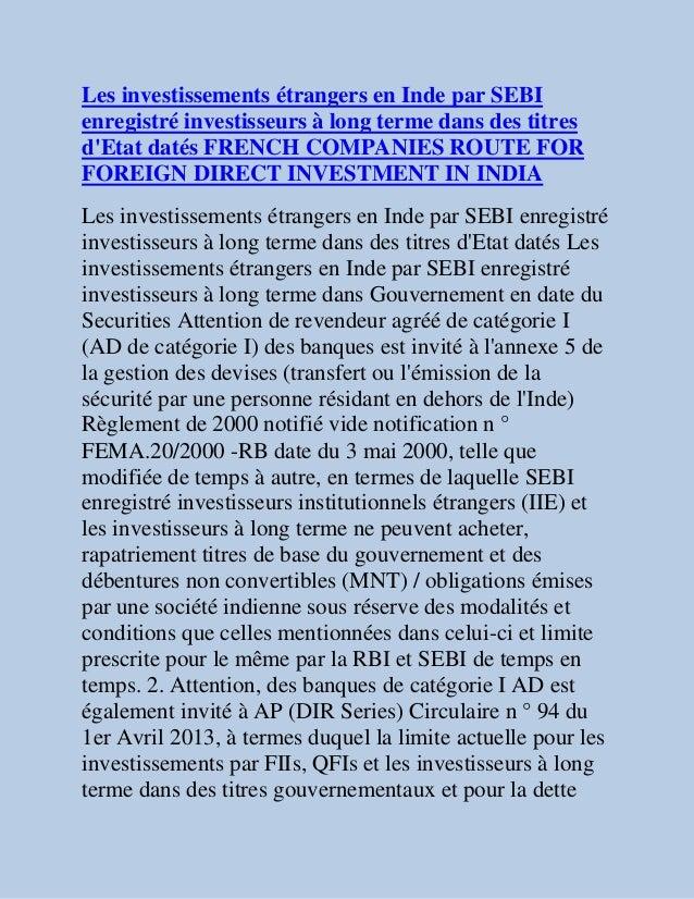 Les investissements étrangers en Inde par SEBIenregistré investisseurs à long terme dans des titresdEtat datés FRENCH COMP...
