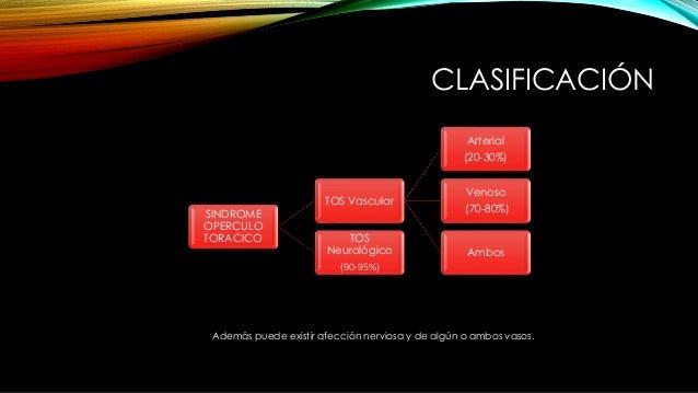 CLASIFICACIÓN SINDROME OPERCULO TORACICO TOS Vascular Arterial (20-30%) Venoso (70-80%) Ambos TOS Neurológico (90-95%) Ade...