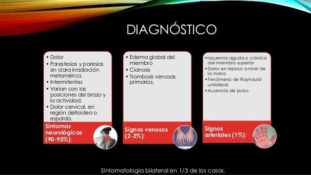 DIAGNÓSTICO • Dolor • Parestesias y paresias sin clara irradiación metamérica. • Intermitentes • Varían con las posiciones...