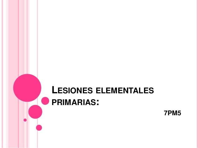 LESIONES ELEMENTALES PRIMARIAS: 7PM5