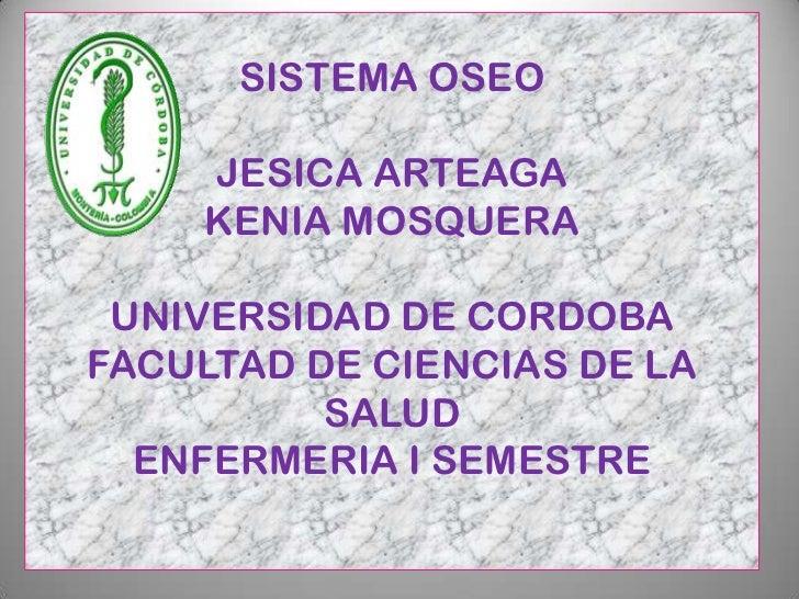 SISTEMA OSEO    JESICA ARTEAGA    KENIA MOSQUERA UNIVERSIDAD DE CORDOBAFACULTAD DE CIENCIAS DE LA          SALUD  ENFERMER...