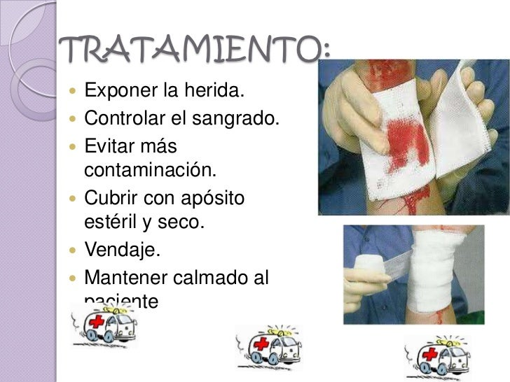 TRATAMIENTO:   Exponer la herida.   Controlar el sangrado.   Evitar más    contaminación.   Cubrir con apósito    esté...